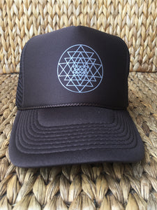 Trucker Hat Sri Yantra BROWN/ Silver Ink
