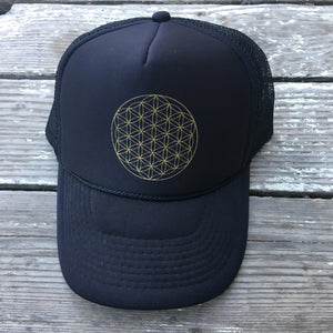 Trucker Hat Flower of Life BLACK/ Gold Ink​