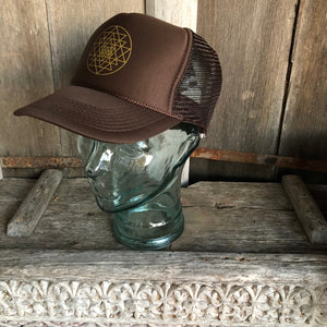 Trucker Hat Sri Yantra BROWN/ Gold Ink