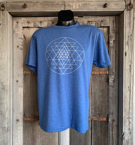 Men's Sri Yantra T-Shirt Vintage Blue/Silver