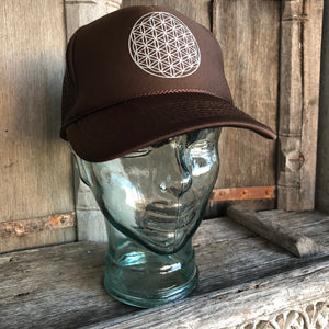 Trucker Hat Flower of Life BROWN/ Silver Ink