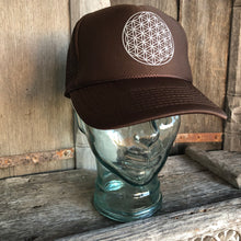 Load image into Gallery viewer, Trucker Hat Flower of Life BROWN/ Silver Ink