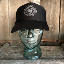 Load image into Gallery viewer, Trucker Hat Sri Yantra BLACK/ Silver Ink​