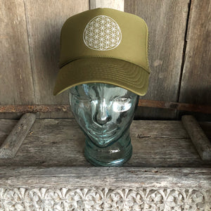 Trucker Hat Flower of Life OLIVE Green/ Silver Ink