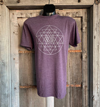 Load image into Gallery viewer, Men's Sri Yantra T-Shirt Eggplant/Silver