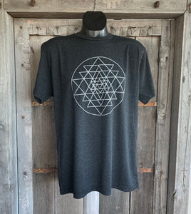 Men's Sri Yantra T-Shirt Vintage Black/Silver