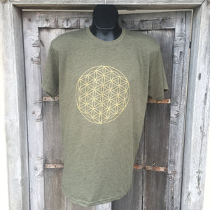Men's T Shirt- Flower of Life Bright Military Green with Gold Ink