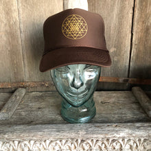 Load image into Gallery viewer, Trucker Hat Sri Yantra BROWN/ Gold Ink