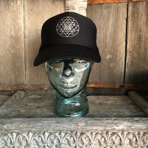 Trucker Hat Sri Yantra BLACK/ Silver Ink​