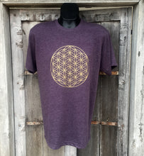 Load image into Gallery viewer, Men's T Shirt- Flower of Life Eggplant with Gold Ink
