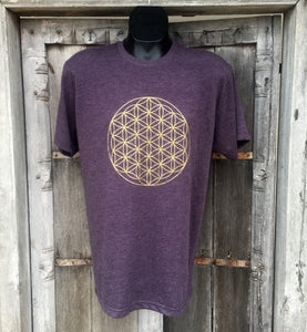 Men's T Shirt- Flower of Life Eggplant with Gold Ink