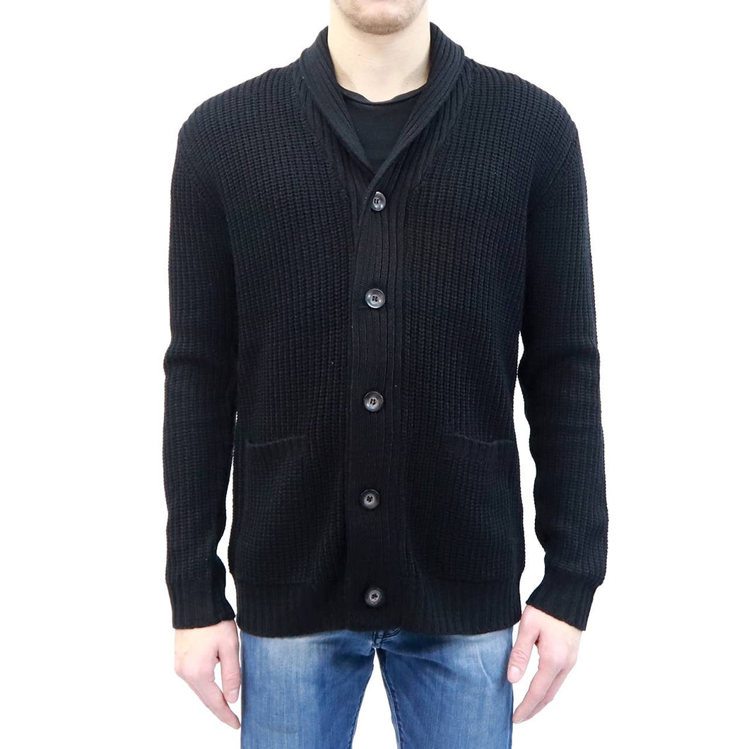 Mens Black Knit Cardigan