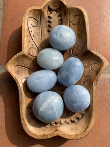 Blue Calcite Large Palm Stone