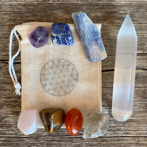 Chakra Set with Selenite Wand