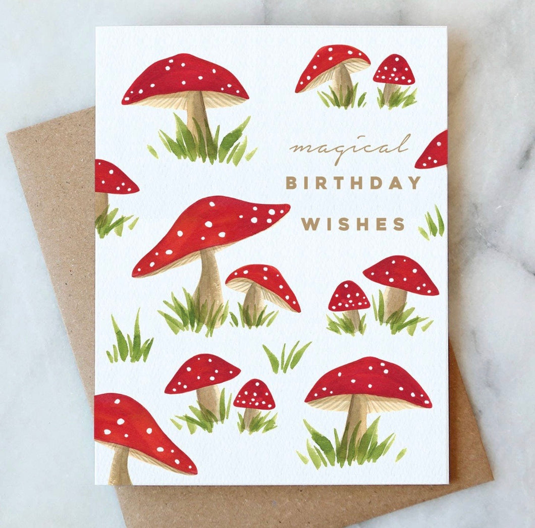 Magical Mushrooms Birthday Card