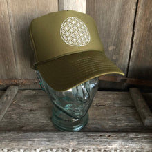 Load image into Gallery viewer, Trucker Hat Flower of Life OLIVE Green/ Silver Ink