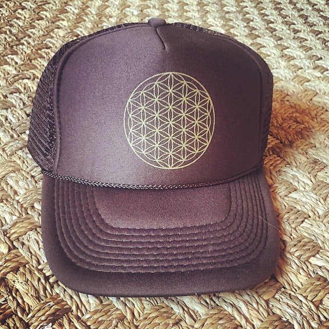 Trucker Hat Flower of Life BROWN/ Gold Ink​