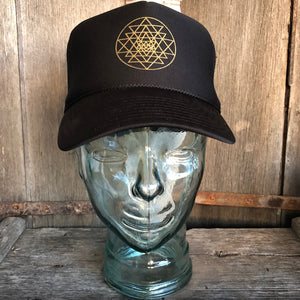 Trucker Hat Sri Yantra BLACK/ Gold Ink​