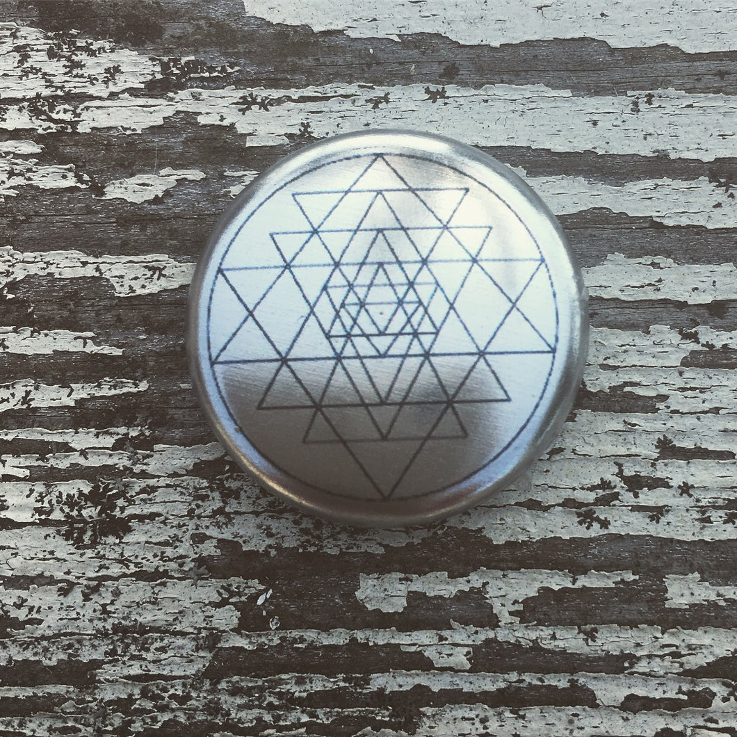Sri Yantra Metallic Button Pin