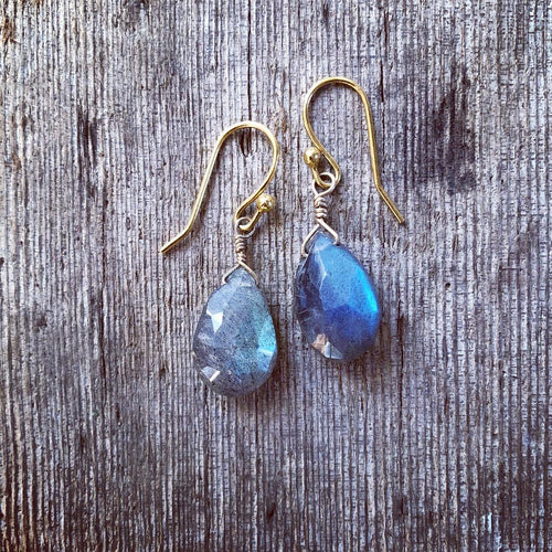 Labradorite Tear Drop Earrings