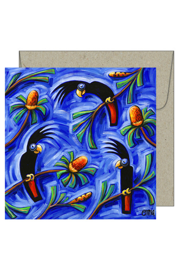 greeting card - Redtails & Grevilleas