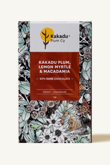 KAKADU PLUM, LEMON MYRTLE & MACADAMIA CHOCOLATE BAR - DARK
