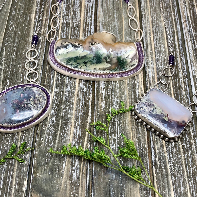 moss agate and amethyst and silver