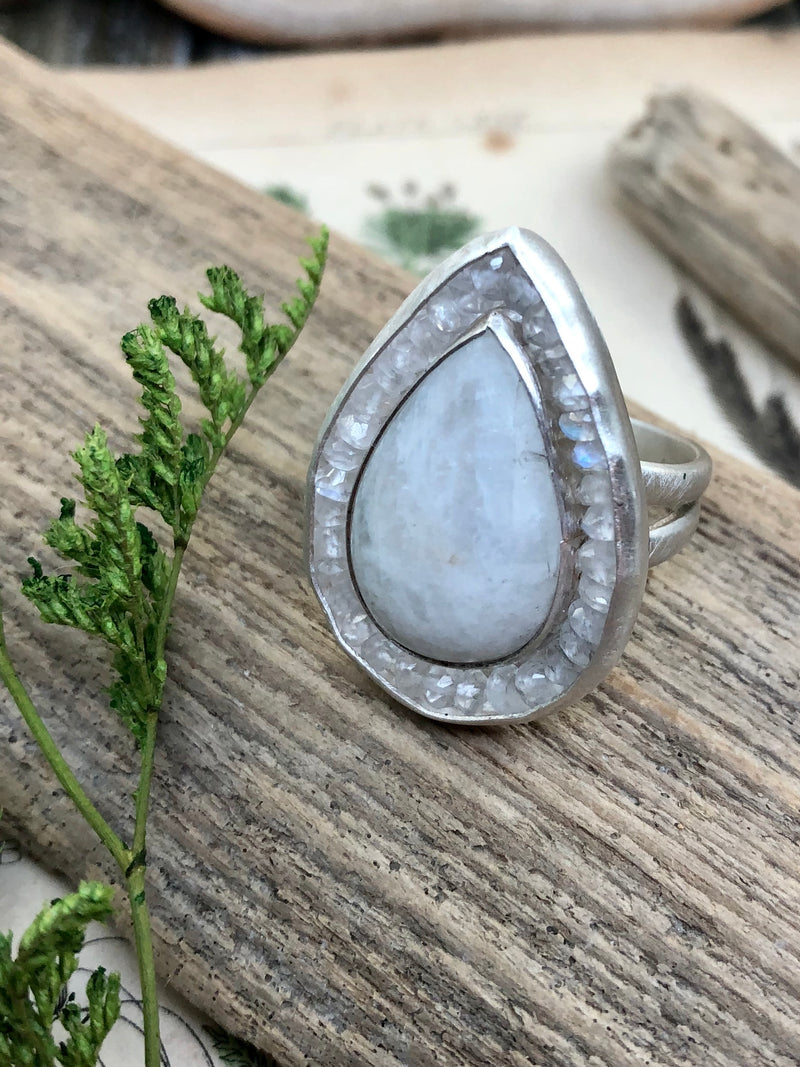Double Moonstone Aurora Ring