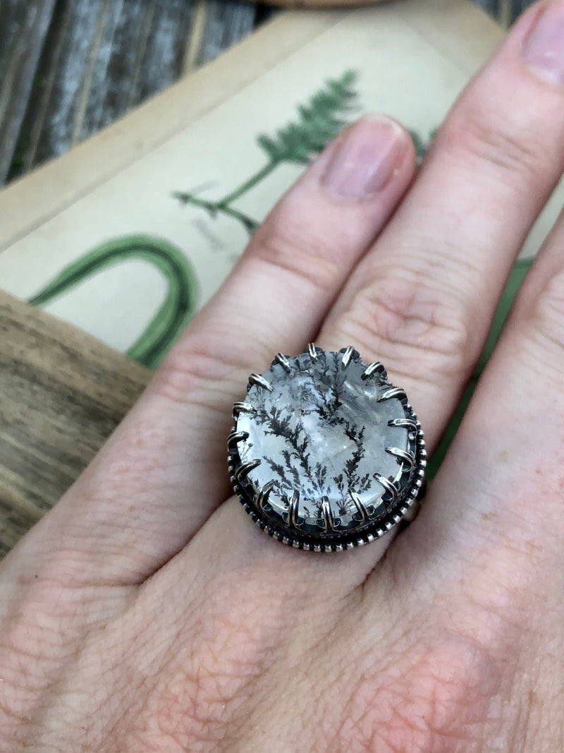 Framed Forest Crystal Ball Ring