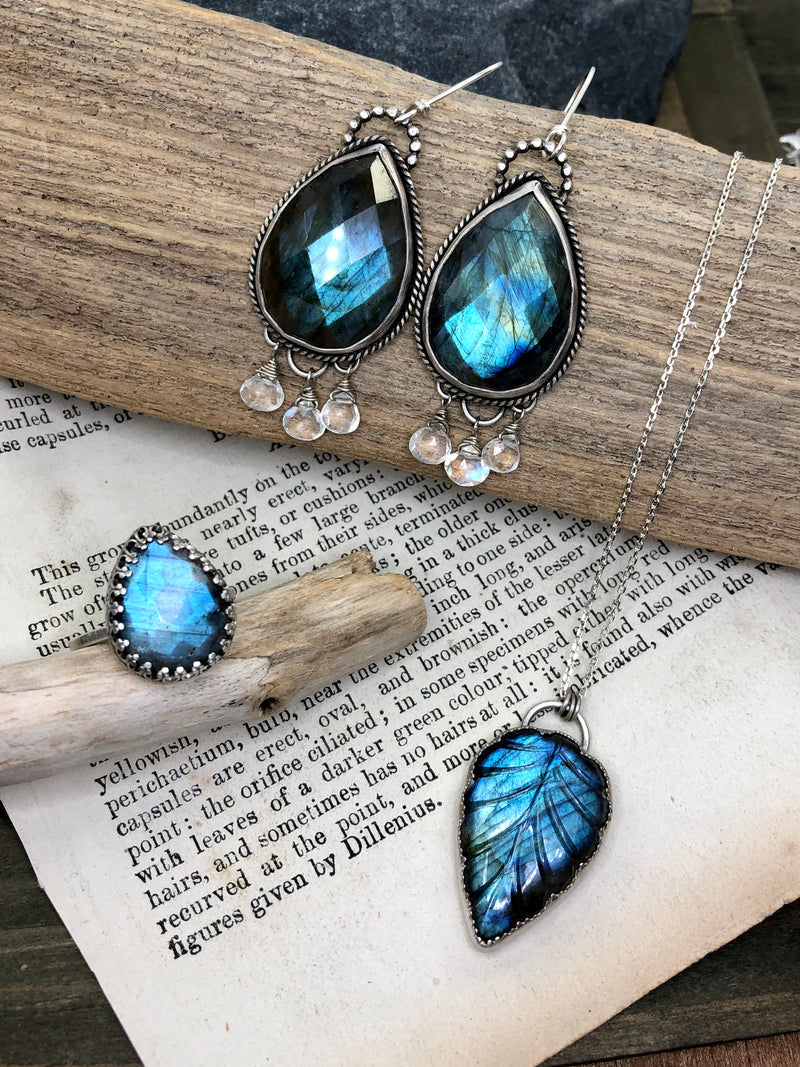Labradorite and Moonstone Drop Earrings