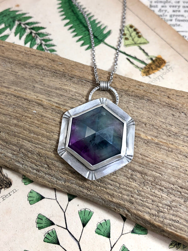 Large Fluorite Hex Necklace
