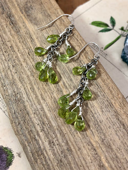 """Love and compassion are necessities, not luxuries. Without them, humanity cannot survive."" - Dalai Lama XIV  Bask in the glow of gentle green peridot drops arranged along a silver chain. Pear-shaped and faceted gems are wire wrapped and finished on sterling French wires. A cascade of color perfect for any elegant ensemble.  Product Details:   • Sterling silver ear wires • Fourteen peridot briolette gems • Sterling and fine silver • Approximately 1.5"" long and 1.75"" long from the top o"
