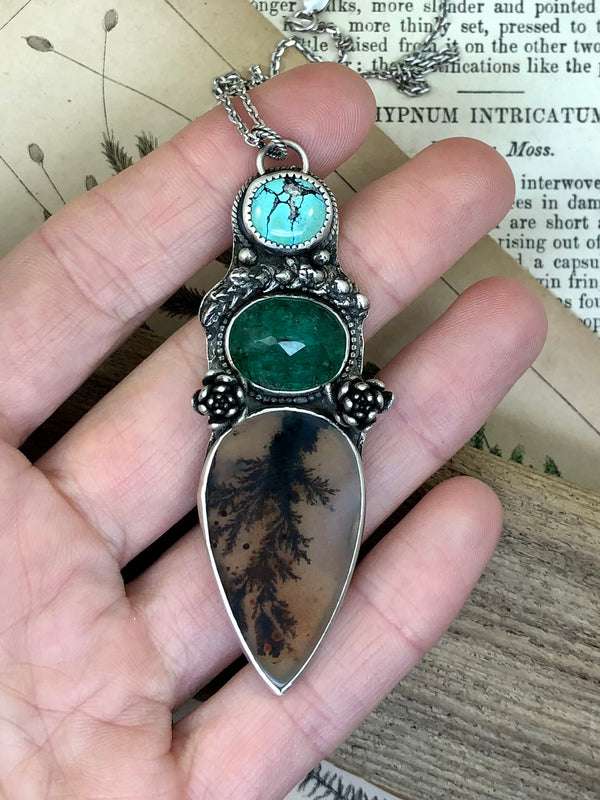 Turquoise & Trees Totem Necklace