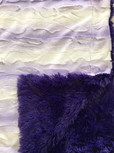 Load image into Gallery viewer, Luxe Cuddle Angora Lavender White on Luxe Cuddle Shaggy Viola