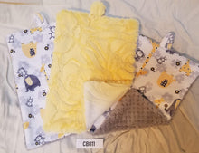 Load image into Gallery viewer, Blankies with Loops- Jungle Dreams Yellow with Silver and Banana