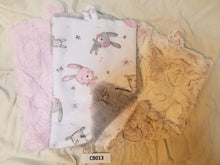 Load image into Gallery viewer, Blankies with Loops- Bunny Hop Cuddle Blush with Pink