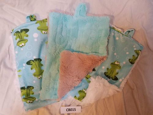 Blankies with Loops- Froggy Kiwi with Teal, White, and Borwn