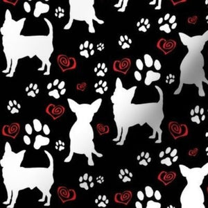 Spoonflower Chihuahuas Hearts and Paws