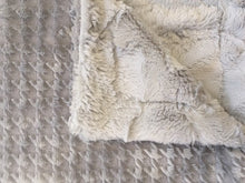 Load image into Gallery viewer, Embossed Houndstooth in Silver on Luxe Cuddle Hide in Silver