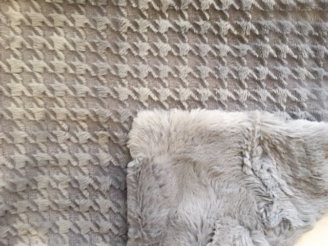 Embossed Houndstooth in Silver on Silver Hide