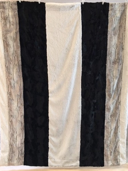 Frost Black, Silver Fox, Caviar Hide, Spot Leopard Vertical Strip Throw on Frost Black