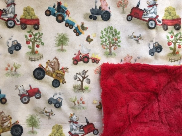 Funny Farm Digital Cuddle in Beige on Stella in Red