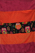 Load image into Gallery viewer, Heavenly Plush Fleece Owl Strip with Embossed Chevron Orange on Luxe Cuddle Carnation Hide