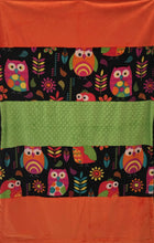 Load image into Gallery viewer, Heavenly Plush Fleece Owl Strip with Luxe Orange and Lime Dimple Dot on Luxe Cuddle Caviar Hide