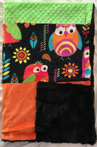 Heavenly Plush Fleece Owl Strip with Luxe Orange and Lime Dimple Dot on Luxe Cuddle Caviar Hide