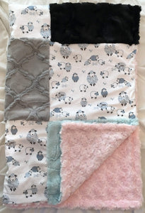 Alpha Sheep in Stone Patchwork on Luxe Cuddle Rosettes in Ice Pink
