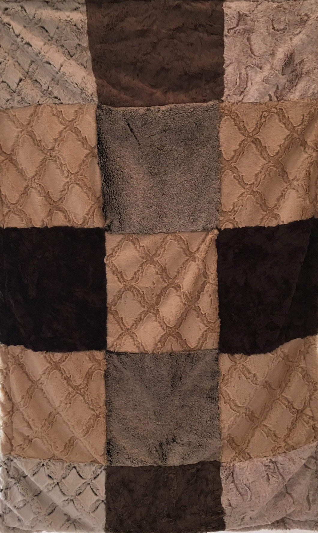 Luxe Cuddle Lattice in Sand, Heather Quartz, and Marble Cocoa Patchwork on Luxe Cuddle Frost Chocolate