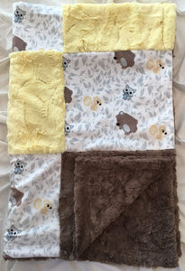 Friendly Forest Patchwork on Luxe Cuddle Marble Cocoa