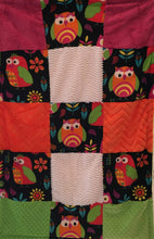 Load image into Gallery viewer, Heavenly Plush Minky Fleece Owl Patchwork on Cuddle Luxe Banana Hide