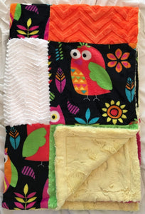 Heavenly Plush Minky Fleece Owl Patchwork on Cuddle Luxe Banana Hide
